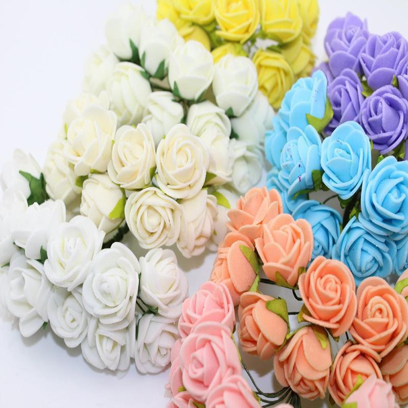 2CM Multicolor PE Rose Foam Mini artificial silk flowers Bouquet Solid Color wedding decorative flowers wreaths
