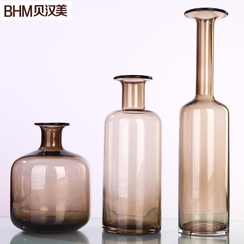 Glass vase ornaments modern minimalist American creative home decorations ornaments living room furnishings flower vase