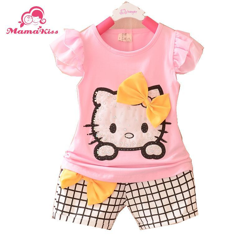New Summer Style 2015 Baby Clothing Set O-Neck Short Cotton Character Baby Girls Suit 1 2 3 Years Old Sets A046-84