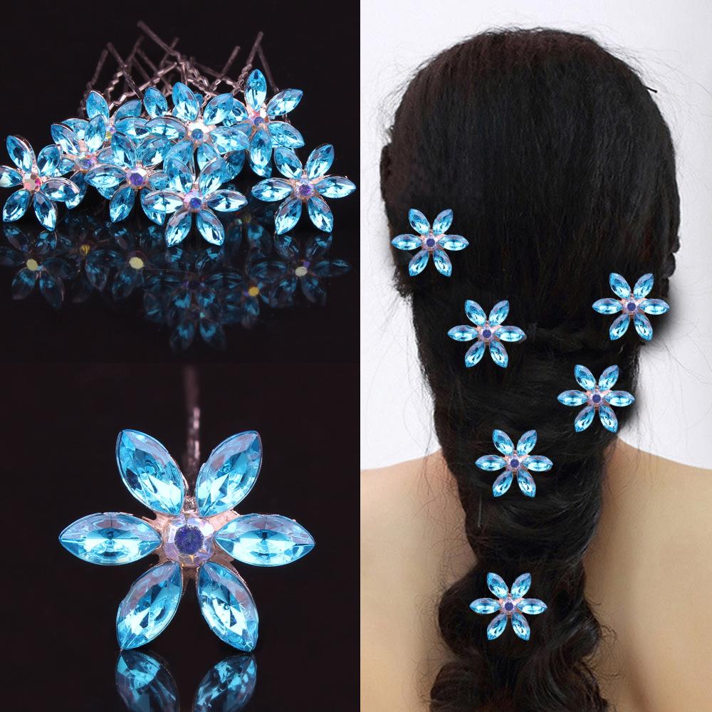 Flower Hair Pins For Wedding: 5Pcs/Lot Wedding Bridal Hair Jewelry Crystal Rhinestone