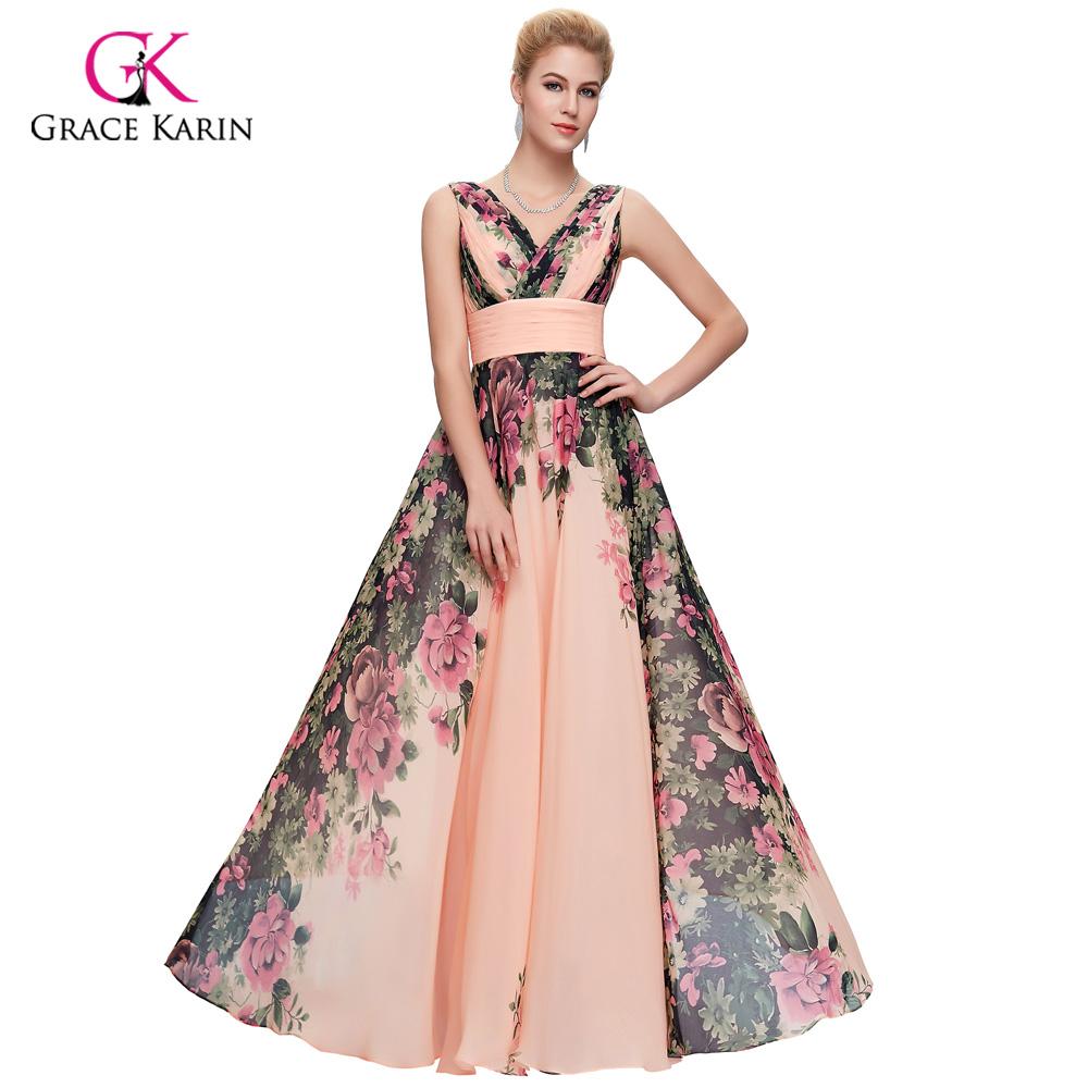 long evening dresses plus size grace karin abendkleider 2016 elegant flower print chiffon formal. Black Bedroom Furniture Sets. Home Design Ideas