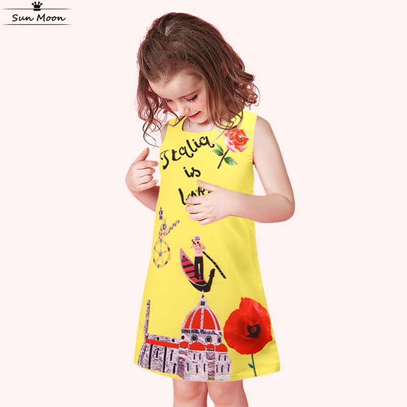 Summer dress casual baby girl dress yellow children clothing flower girls dresses for party and wedding boutique kids clothes