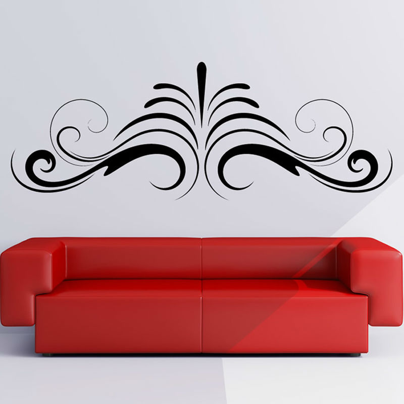 Symmetrical Simple Swirl Abstract Shape Sofa Background Home Decor