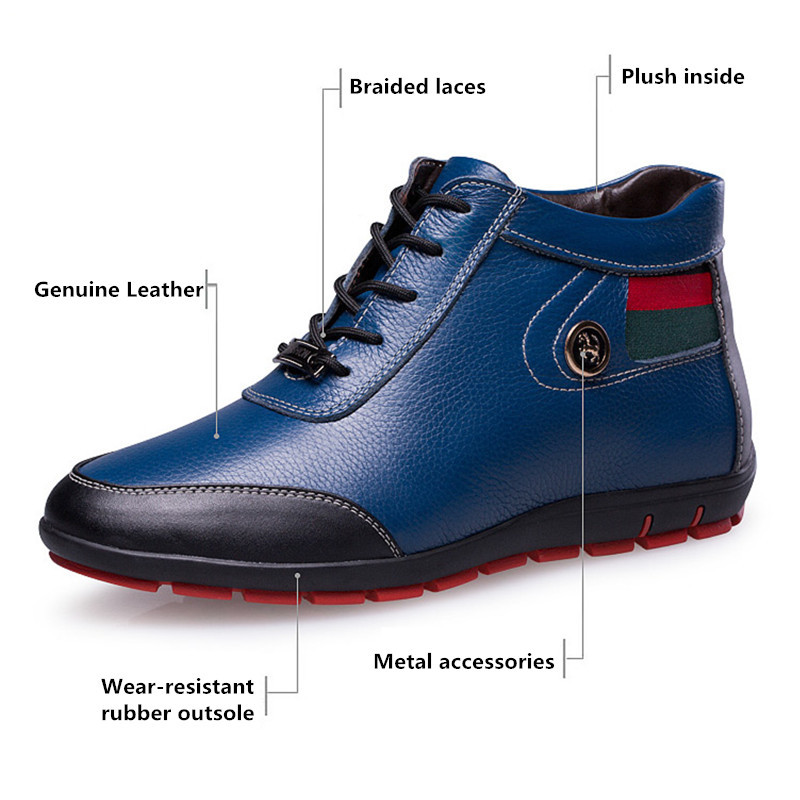 uk availability 68881 37bc0 Winter Genuine Leather Men Boots Fashion Brand Ankle Boots ...