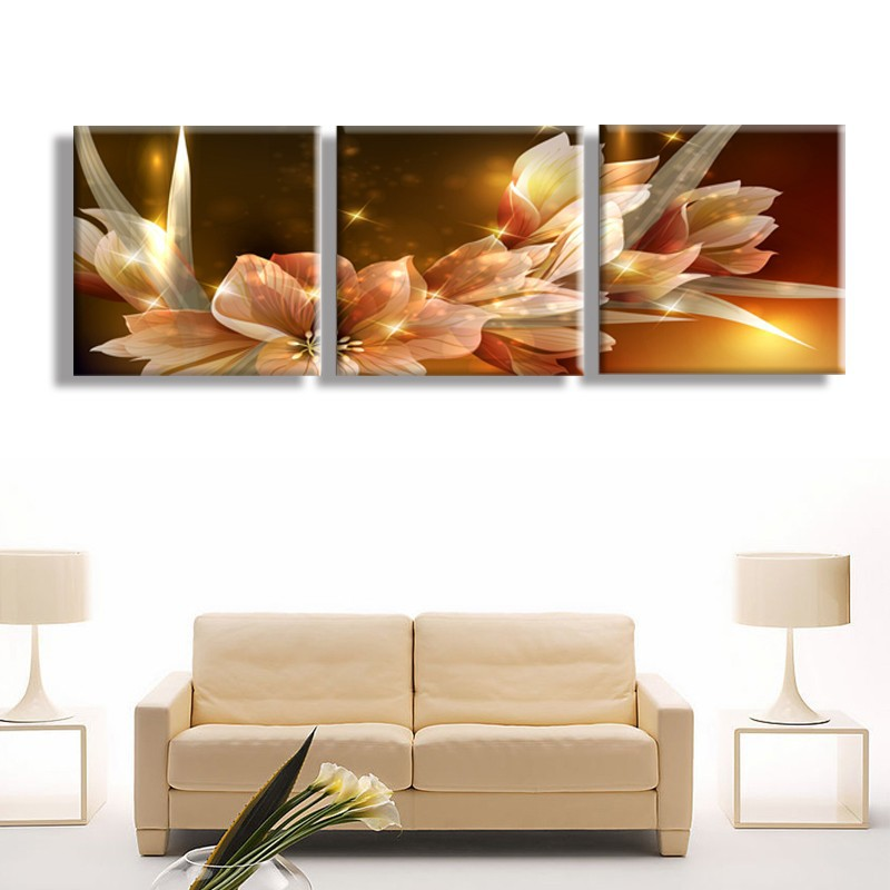 Canvas Painting Wealth And Luxury Golden Flowers 3 Piece