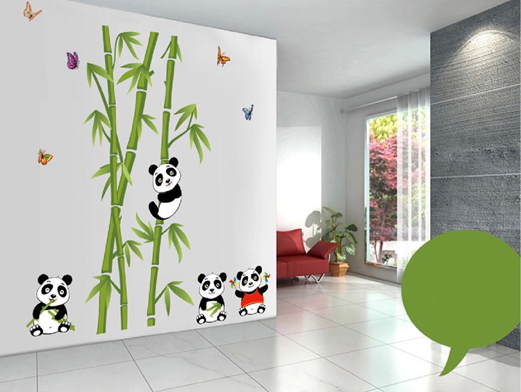 Sale cute panda bamboo large wall sticker art decals remove for home decoration