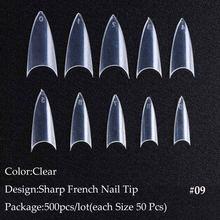 Накладные акриловые ногти, 500 шт., искусственные накладные ногти, полное покрытие, натуральные/белые/прозрачные инструменты для маникюра, ...(Китай)
