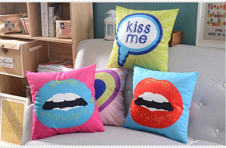 Red Lips Makeup Pillows Cushions Cover Heart Kiss Me Love