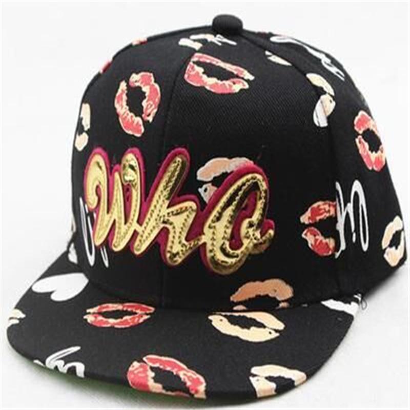 2016 new children s snapback baseball cap lip printing Direct caps visor cap hip hop hat
