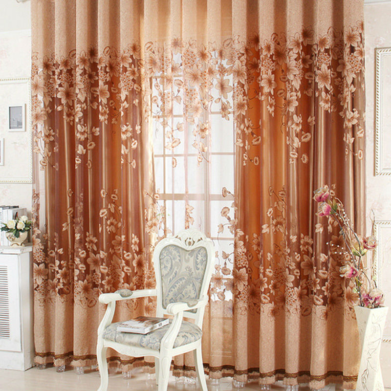 Free shipping Luxurious Upscale Jacquard Yarn Curtains Tulle Voile Door Window Curtains Living Room Bedroom Decor NVIE