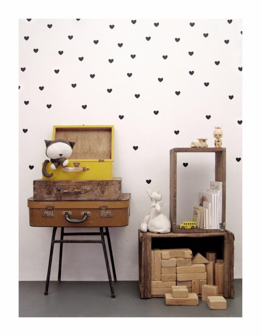 45 pcs Hearts pattern cute home decoration Wall Sticker Removable Waterproof PVC No Pollution material for kids room decal