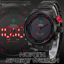 NORTH Male Sports Watch Analog Digital LED Stainless Full Steel Black Red Date Outdoor Quartz Wrist Military Men Watches 2015