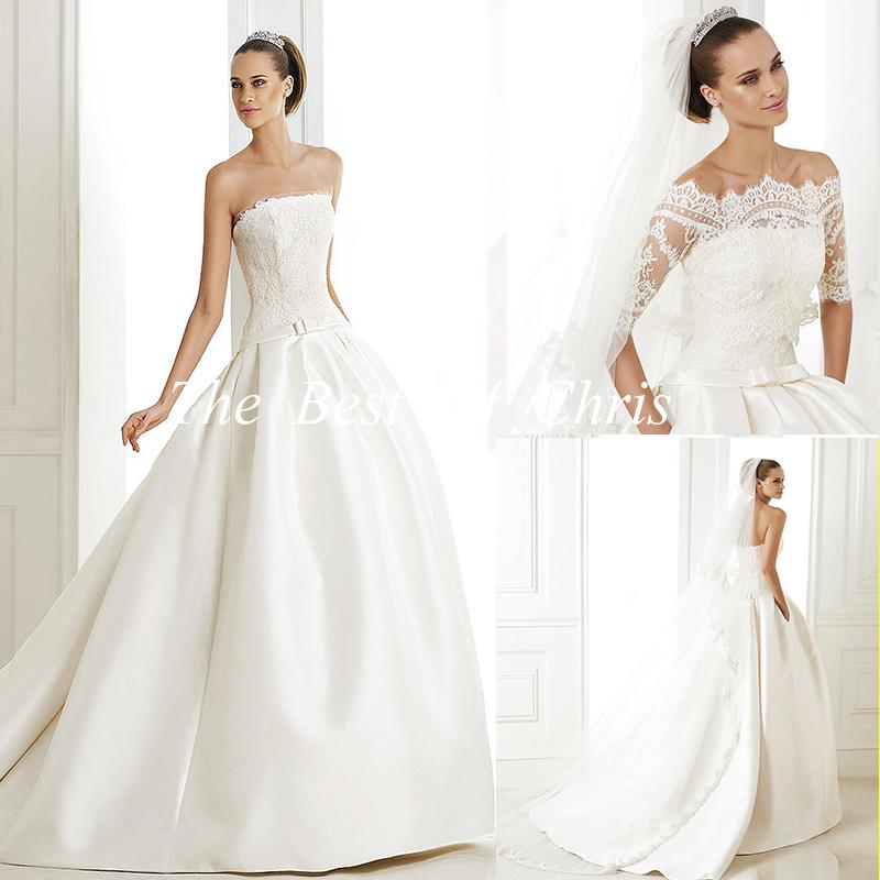 White Wedding Dress Jacket: 2015 Fashionable New White Satin With Jacket Ball Gown