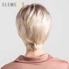 Element 6 дюймов короткий синтетический парик смесь 50% человеческих волос для женщин Мода Pixie Cut вечерние парики для повседневной носки бесплатн...(Китай)