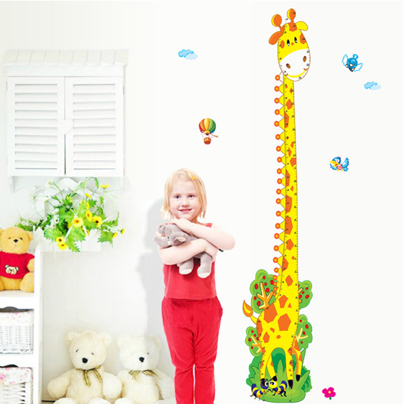 Cute Kawaii Cartoon Giraffe Monkey Removable Home Decor Kids Height Wall Stickers Decal Wallpaper For living Room Bedroom