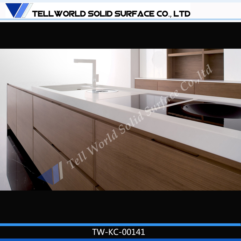 Solid Surface Kitchen Cabinet: Stylish Gloss Veneer Wood Finish Solid Surface/man-made