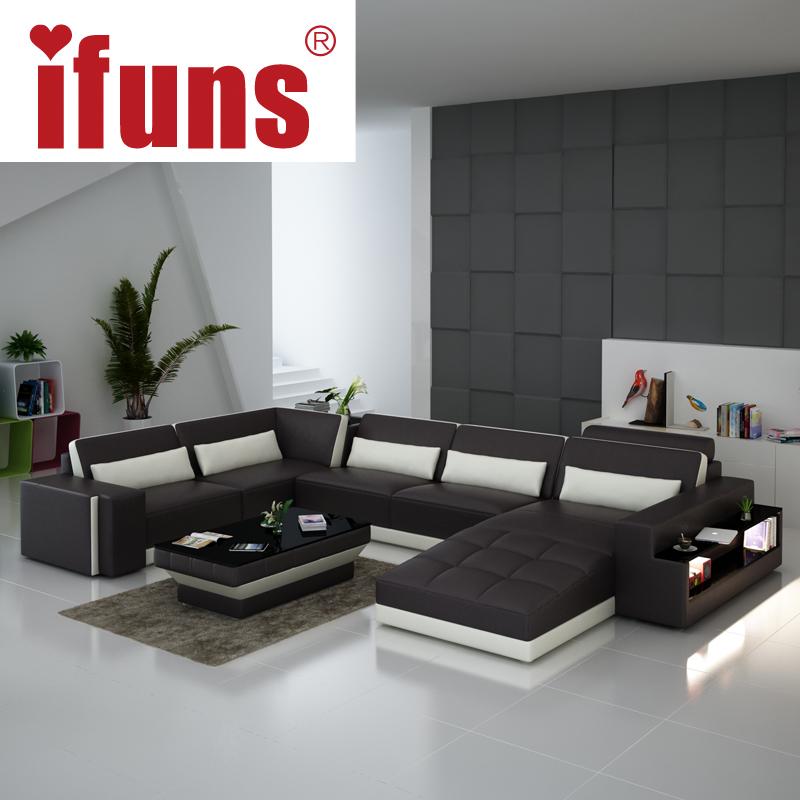 ifuns luxury sofa sets u shaped top grain italian real leather sofa set living room furniture in. Black Bedroom Furniture Sets. Home Design Ideas