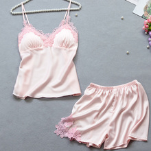 9cccadf39d Summer Sexy Lace Satin Pajama Sets for Women Silk Sleepwear Two Pieces Top  Shorts Pink Pajamas