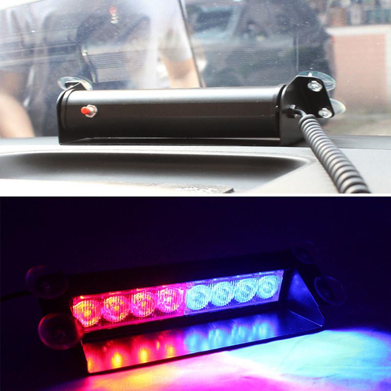 8 led red blue car police strobe flash light dash emergency 3 flashing light in warning lights. Black Bedroom Furniture Sets. Home Design Ideas