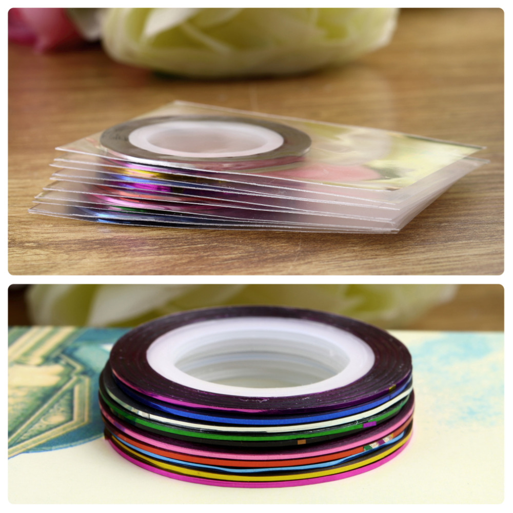Hot 10Pcs/set Mixed Colors Rolls Striping Tape Line DIY