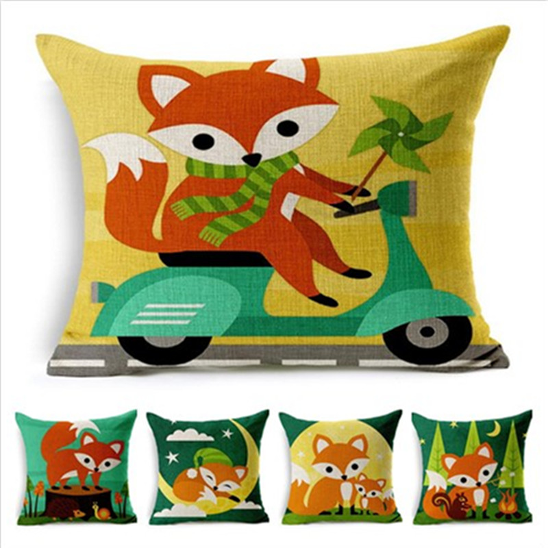 Cojines Sofa Online.Cartoon Style Fox Square Throw Pillow Cushion Kooshen For
