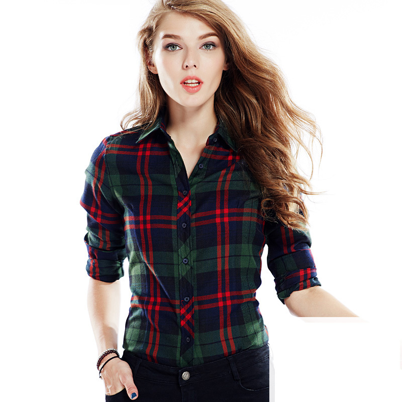 De manga larga camisa a cuadros mujeres para mujer de