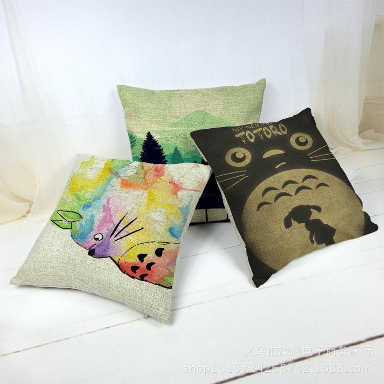 High Quality Colorful Totoro Decorative Throw Pillow Cover Pillowcase Living Room Cushion Cover Dakimakura Cojines Decorativos