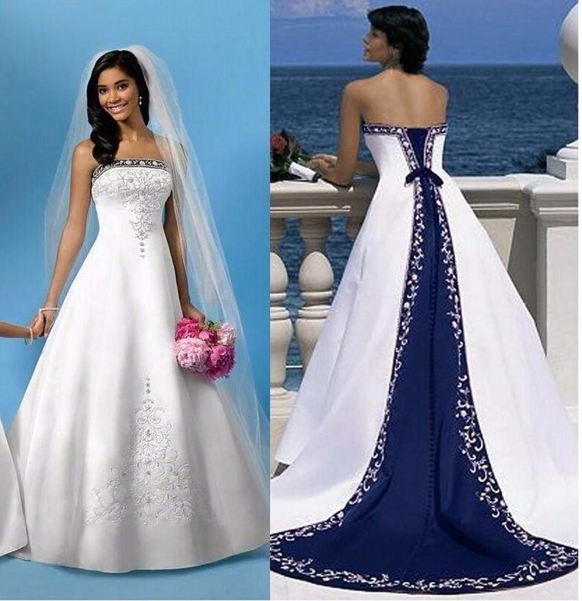 Where To Buy Royal Blue Wedding Dress: Popular Royal Blue And White Plus Size Wedding Dresses-Buy