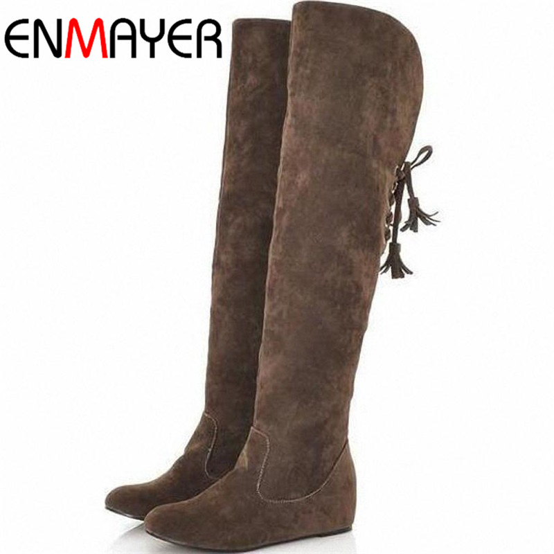 ENMAYER Fashion Snow Boots Fashion Winter Back Lace Up