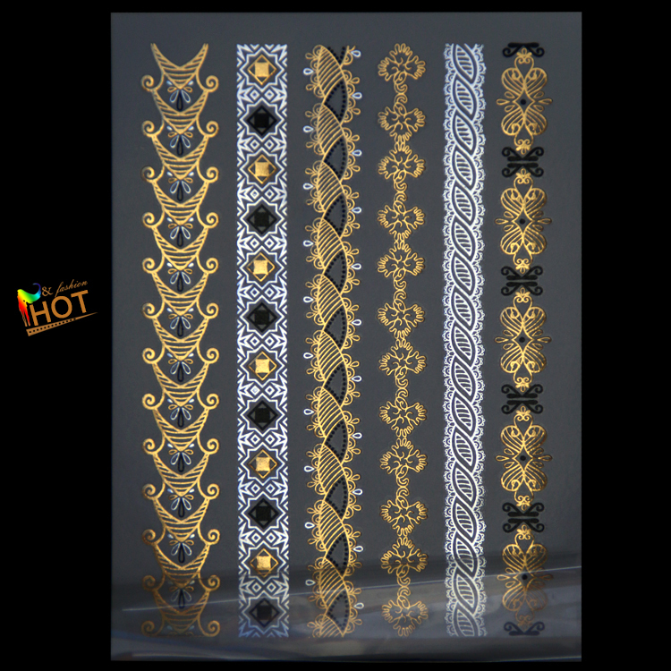 14dcbe7c6 Metallic Gold Silver Necklace Bracelets Flowers Body Art Temporary Tattoo  Sexy Non Toxic Flash Tattoos Sticker