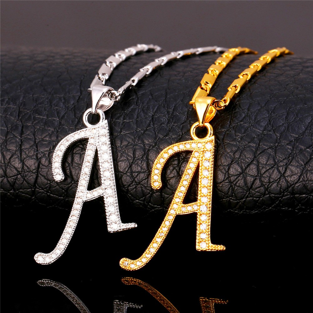 df1bfb85f Wholesale Wholesale U7 Alphabet A Letter Pendant Necklace Women Men ...