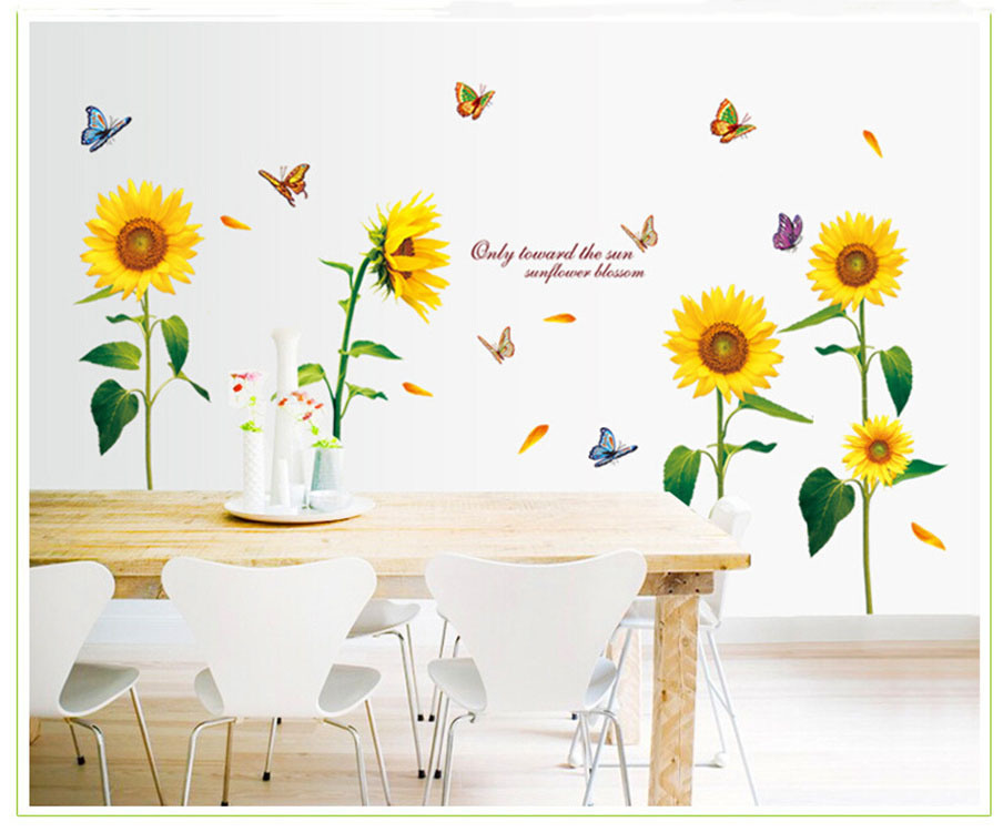 Full of Warm Sunflowers Flower Wall Vinyl Sticker Living Room Bedroom Home Decoration Wall Art Waterproof Removable Wallpaper