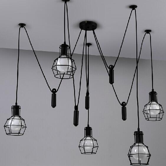 Loft Vintage Industrial Pendant Lights Iron Birdcage Hanging Fixture Lighting Home Decor Suspension Spider Lamp Living Room