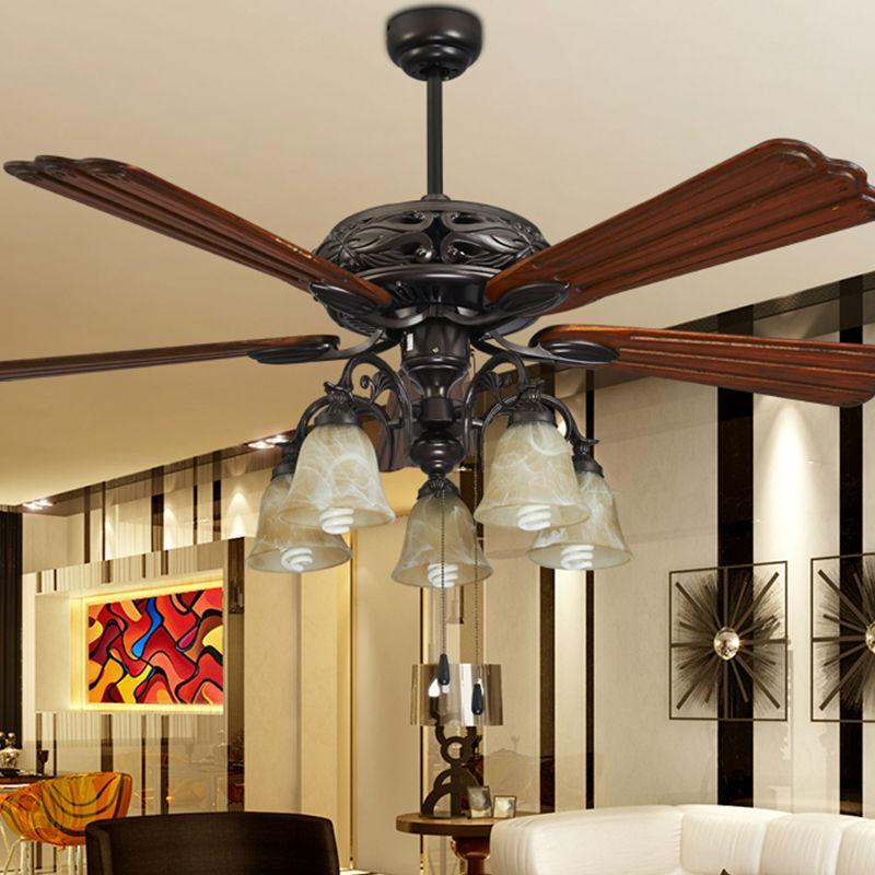 Ceiling Fan In Living Room: Fashion Ceiling Fan Lights Retro Style Fan Lamps Bedroom