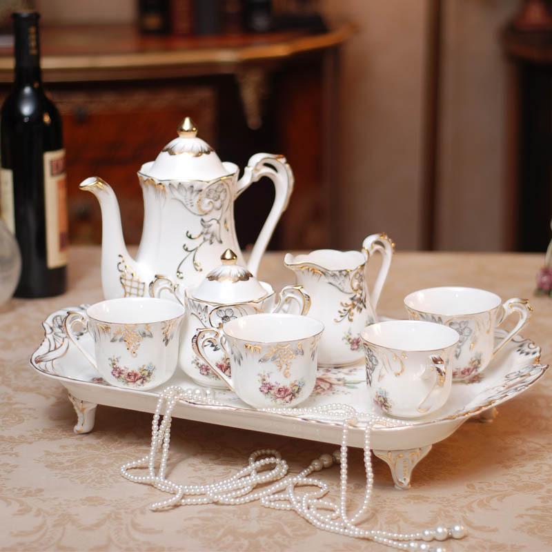 Practical Wedding Gifts: European High Grade Gilt Ivory Porcelain Ceramic Tea Sets