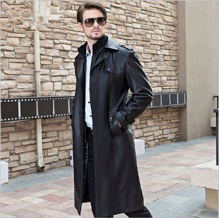 2015 New Brand Men Leather Trench Coat X Long Business