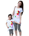 Plus size lady family set clothes for mother and daughter summer clothing sets cotton top plaid