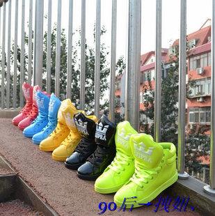 2014 прямые продажи ограниченной Japanned верхняя высота хип-хоп обувь большой язык мужские женские скейтбординг платформа конфеты цвет неоновых