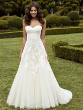 2016 Latest Sweetheart Wedding Dress Backless A Line Applique Vestido de novia Tulle Court Train Elegant Bridal Gown YX142