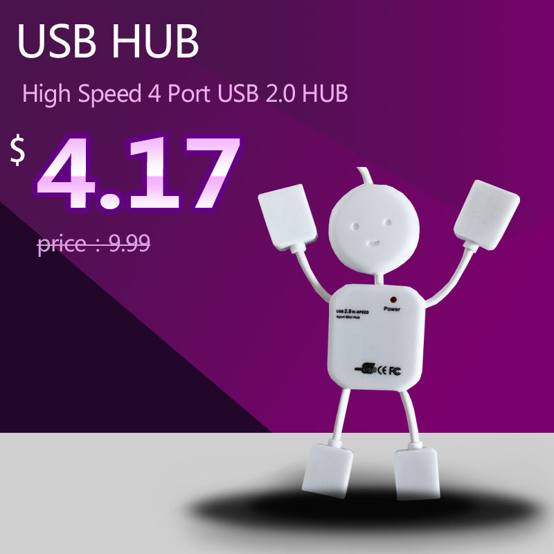 USB HUB High Speed 4 Port USB 2 0 HUB with Cable 480Mbps Computer Networking Peripheral