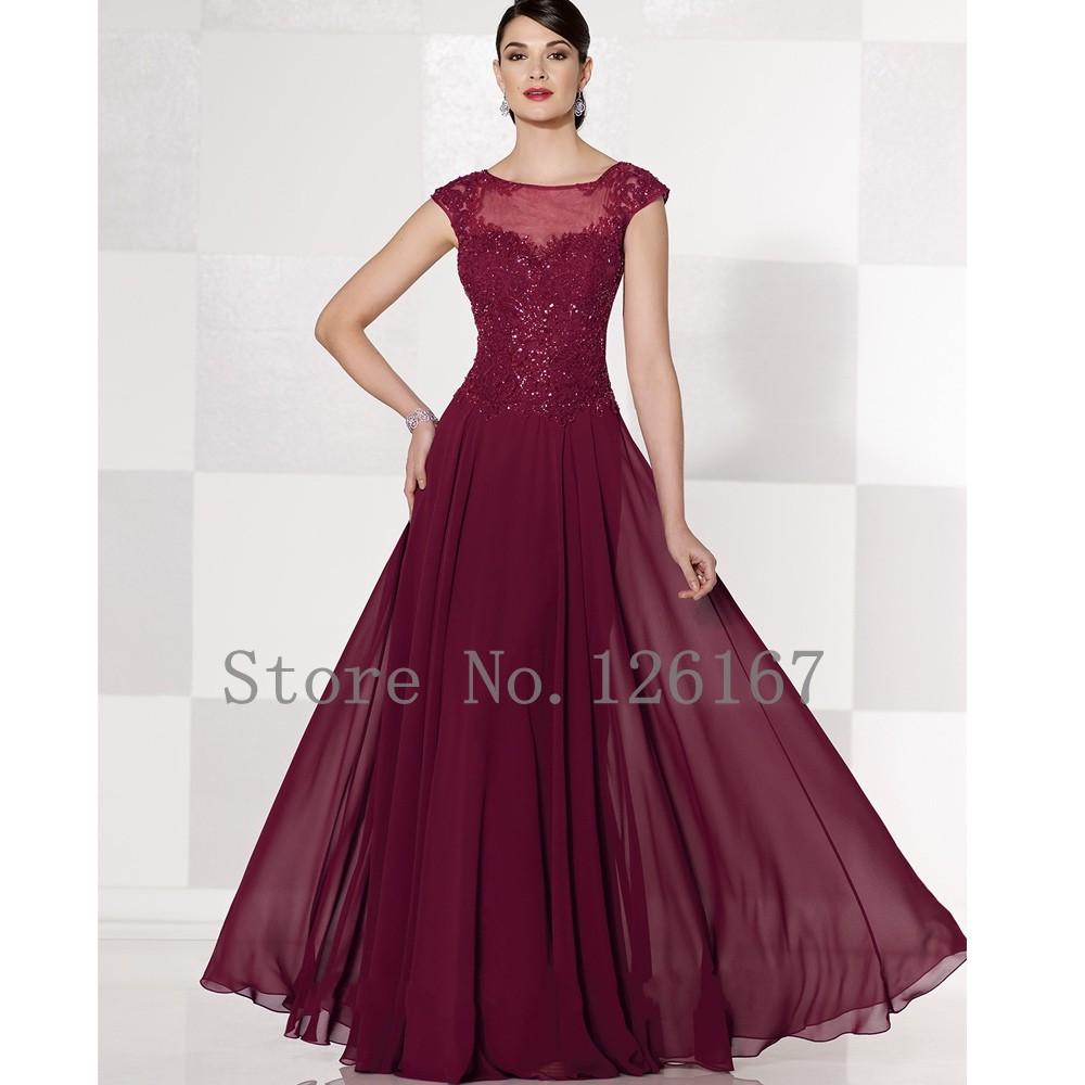 Dark red Chiffon Long evening Dresses 2016 Cap Sleeves ...