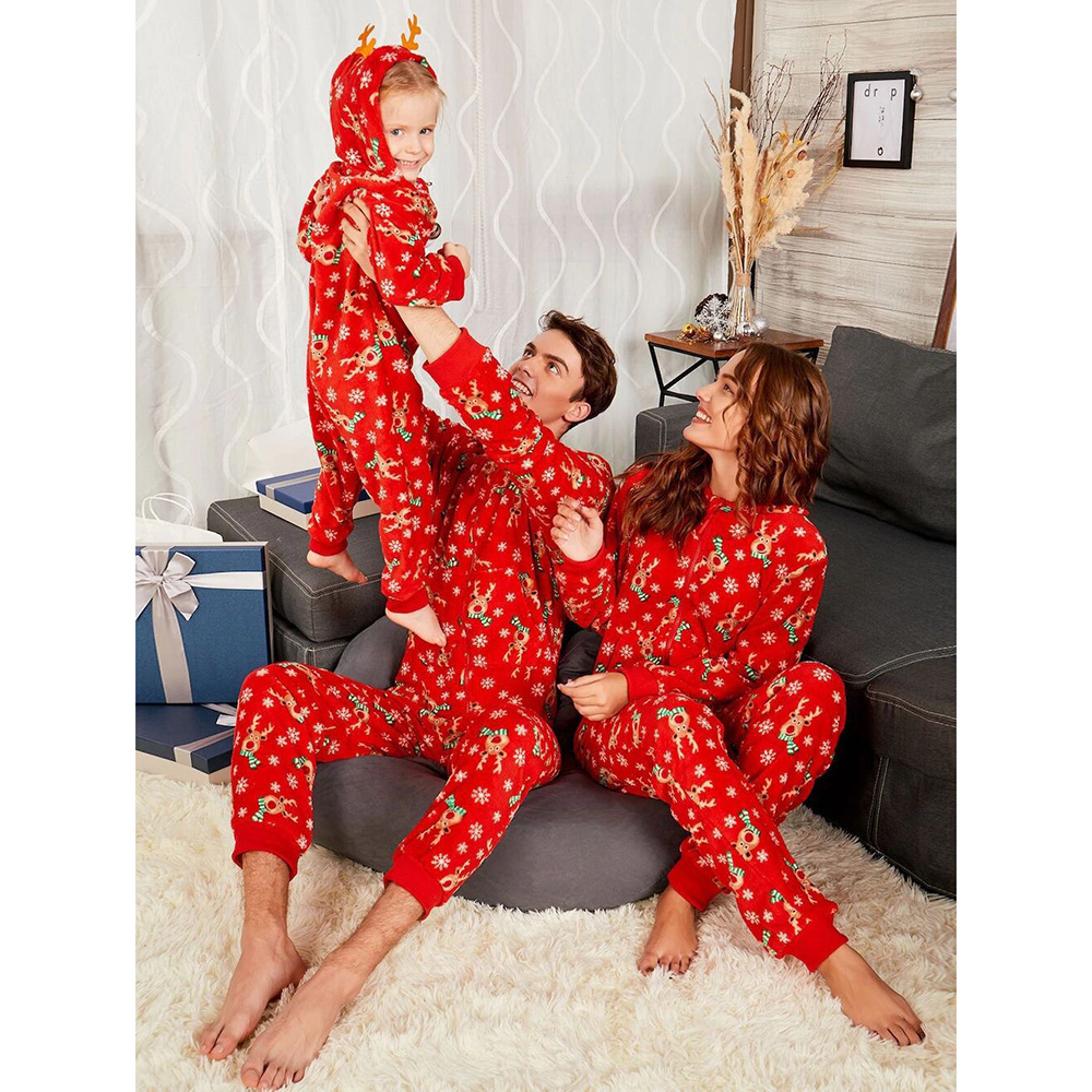 ded628eed60 Christmas parent-child hooded jumpsuit homewear set for father and mother  2. Classic elk and snowflake pattern design 3. One-piece hooded version