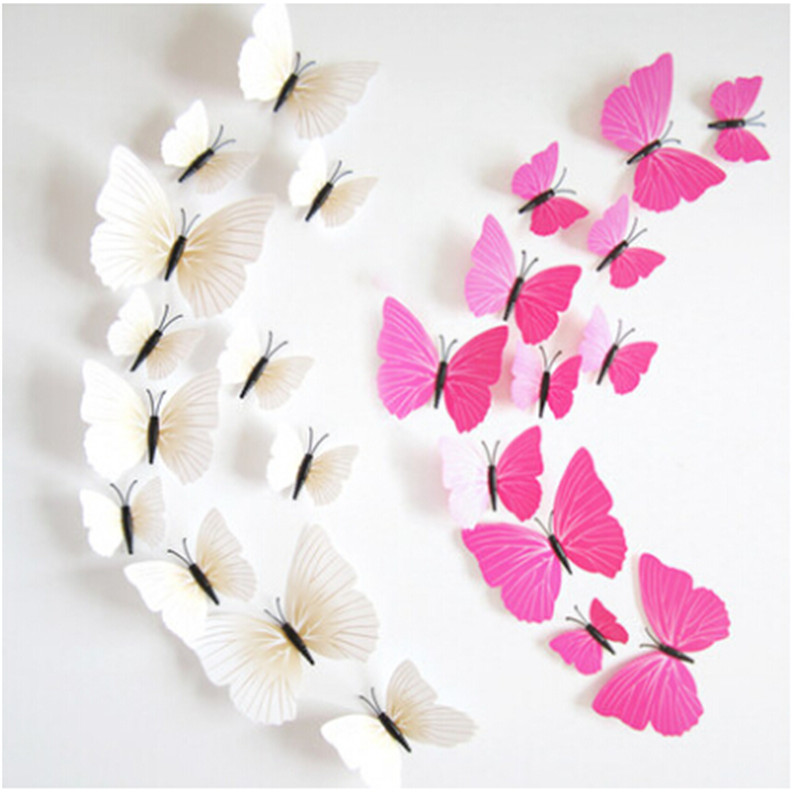 Top Selling 12Pcs/lot Colorful PVC 3D Butterfly Wall Decor Cute Butterflies Wall Stickers Art DIY Decals Home Decoration Paper