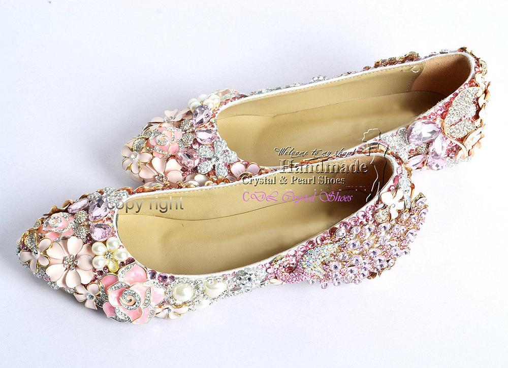 Flat-wedding-shoesnew-elegant-customized-handmade-Pink ...