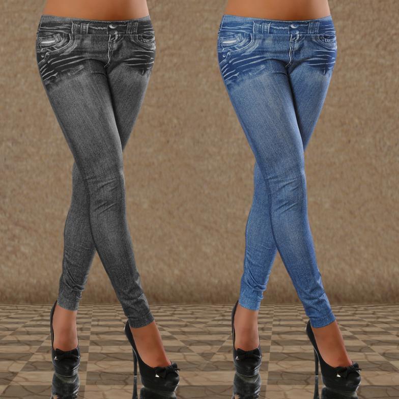 Compre Las Nuevas Mujeres Tatuaje Atractivo Legging Jean Look Sport ... 1dd9470703cd