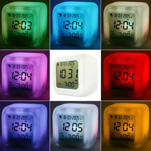LED 7 Color Glowing Change Digital Glowing Alarm Thermometer Clock Cube
