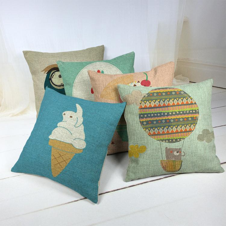 Hot Sale Thick and Thin Cotton Linen Decor Pillow New Home Fashion Gift 45cm Pop Lovely Ice cream read book Office Sofa Cushion