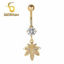 G23titan Золотой Цвет фигура кристалл кулон пупка Кольца для пупка для пирсинга, из хирургической стали кольца для живота пирсинг тела, пупок(Китай)
