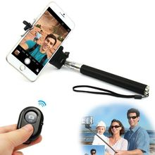 Extendable Self palo Selfie Stick Handheld Monopod +Clip Holder+Bluetooth Camera Shutter Controller for trave take photo