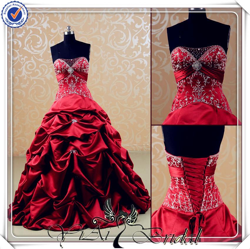 Beautiful Red And White Wedding Dress: JJ3540 Sweetheart Silk Satin Puffy Embroidery Beautiful